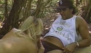 Blonde with big tits gets cumshot after being plumbed hardcore in a forest sex