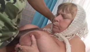 Ugly BBW grandma sucking juicy black dick like dirty slut
