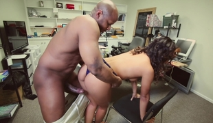 Black hotty taking broad in the beam black cock, at the office
