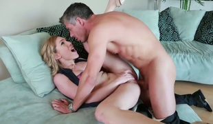 Brunette Lily LaBeau gets hardcored by hot team fuck buddy Mick Blue