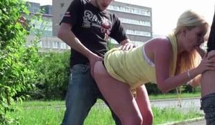 Large tits pornstar Stella Fox PUBLIC street gangbang sex