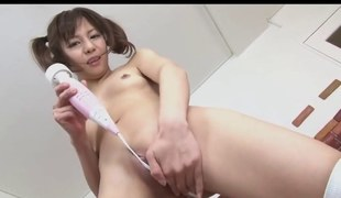 Japanese - Pigtail Teen is Back - Hitachi's Pussy & Blowjob